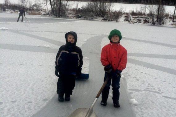 boys on a pond